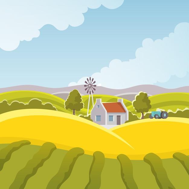 Rural landscape illustration Free Vector