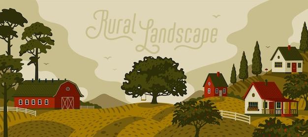 시골 풍경. 마을과 나무가있는 파노라마 풍경. 프리미엄 벡터