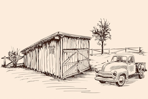 Rural landscape with a farm wagon next to an old barn with a closed gate. hand sketch on a beige background. Premium Vector