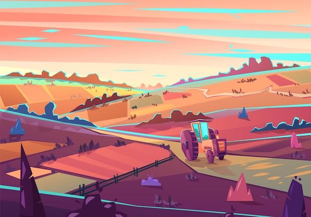 Rural landscape. Premium Vector