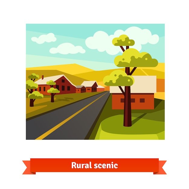 Rural road crossing the village countryside Free Vector