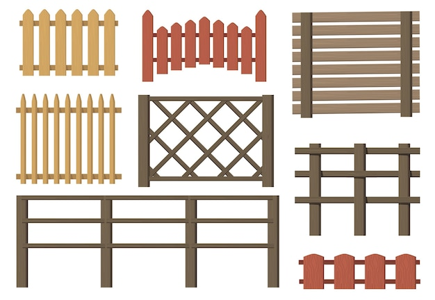 Rural wooden fences flat item set. cartoon farm or village vintage brown gates isolated vector illustration collection. timbers barriers and countryside concept Free Vector