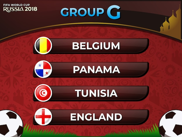 717bfe0abfb Russia 2018 fifa world cup group g nations football team Premium Vector