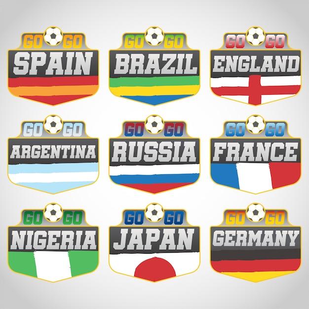 665e3e7f9d0 Russia 2018 world cup soccer badges vector Premium Vector
