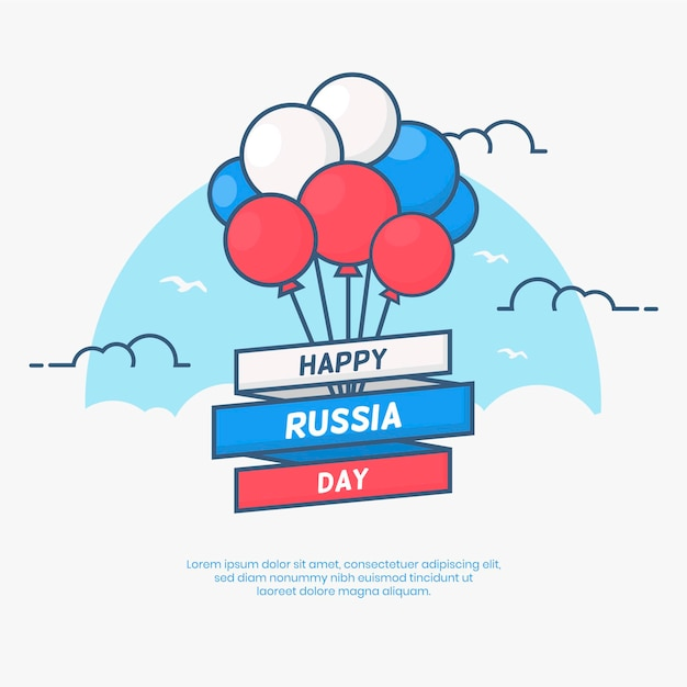 Russia day background with balloons Free Vector