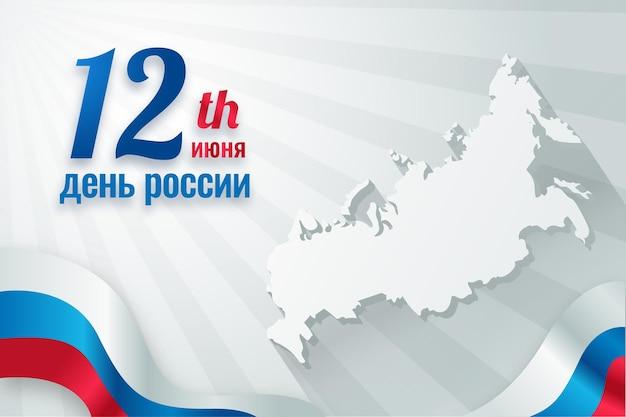 День россии с картой и флагом Premium векторы