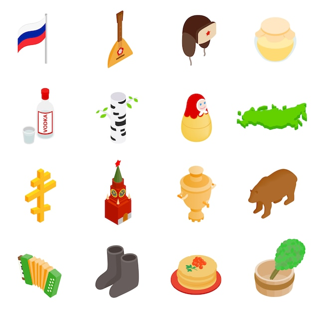 Russia isometric 3d icons set isolated on white background Premium Vector