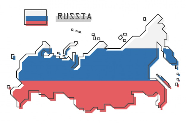 Russia map and flag Premium Vector