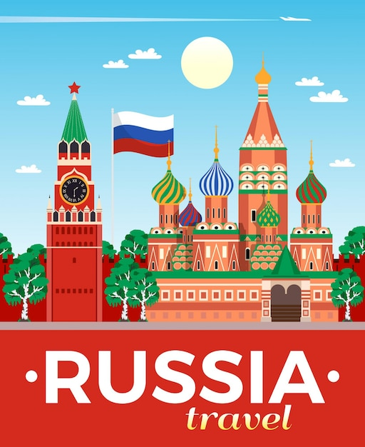 Russia travel agency advertising flat composition poster with national flag kremlin saint basils cathedral moscow Free Vector