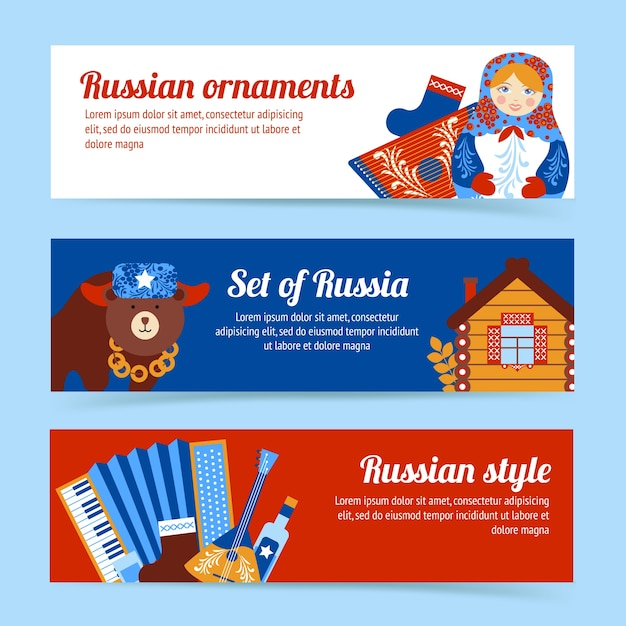 Russia travel style and ornaments banner set\ isolated vector illustration