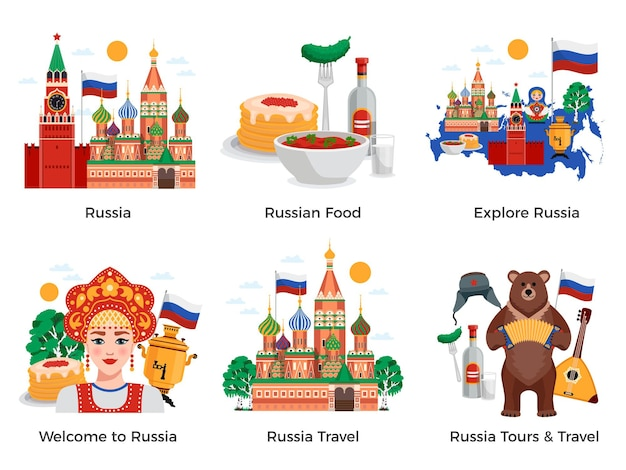 Russia travel tours attractions culture landmarks 6 flat compositions set with traditional food symbols landmarks Free Vector