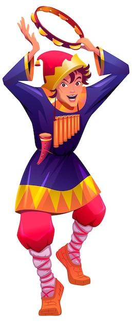 ロシアのバフーンが踊り、タンバリンを打ちます。靭皮靴のヴィンテージピエロ。白で隔離ベクトル漫画イラスト Premiumベクター
