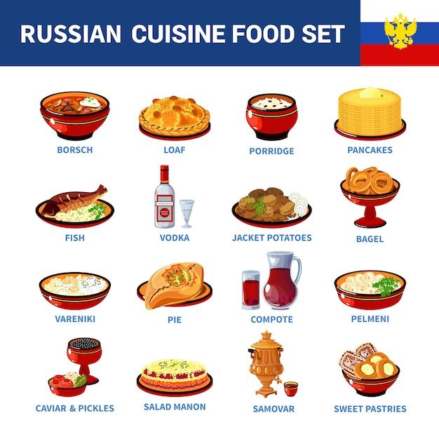 Русская кухня блюда плоская коллекция икон Бесплатные векторы