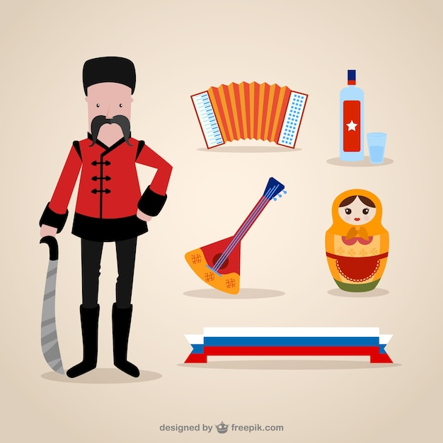 Russian culture elements Free Vector