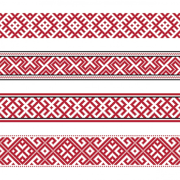 Russian old embroidery and patterns Premium Vector