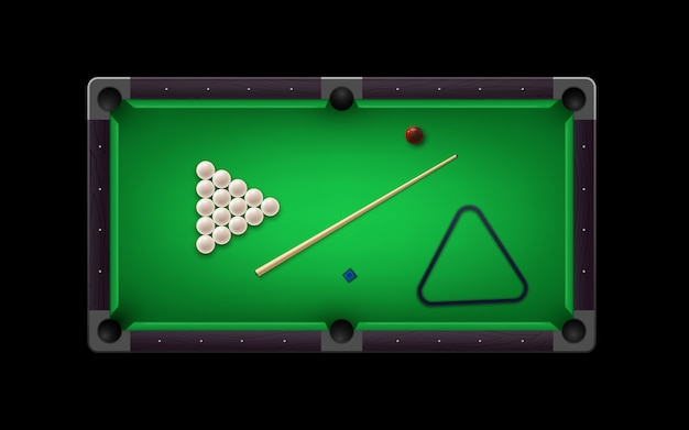 Russian pyramid table with billiard cue and glossy ivory  balls and other equipment. Premium Vector