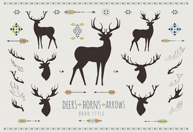 Rustic antlers. set silhouettes of rustic antler designs Premium Vector