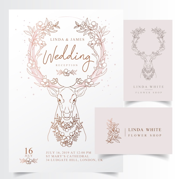 Rustic floral antler wedding invitation card Premium Vector