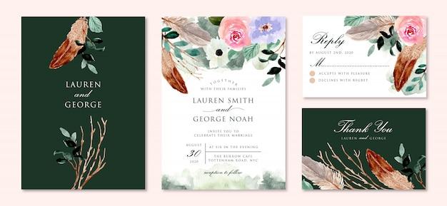 Деревенское зеленое свадебное приглашение с акварелью и перьями Premium векторы
