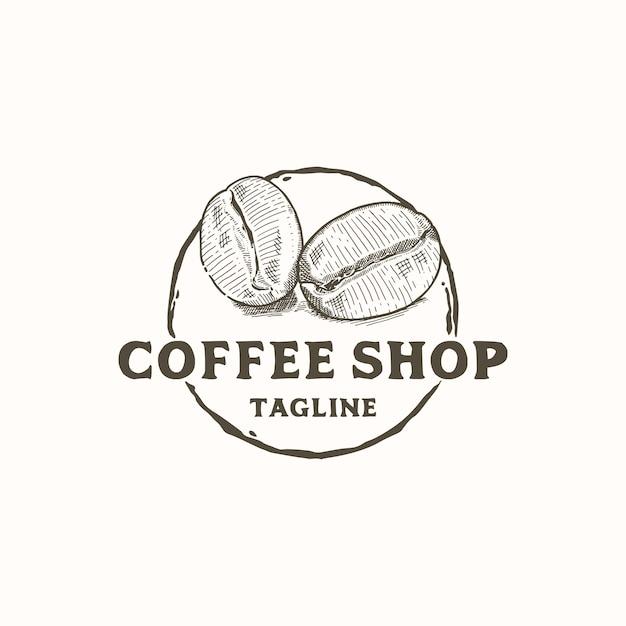 コーヒーショップのロゴデザインの素朴な手描きのコーヒー豆 Premiumベクター
