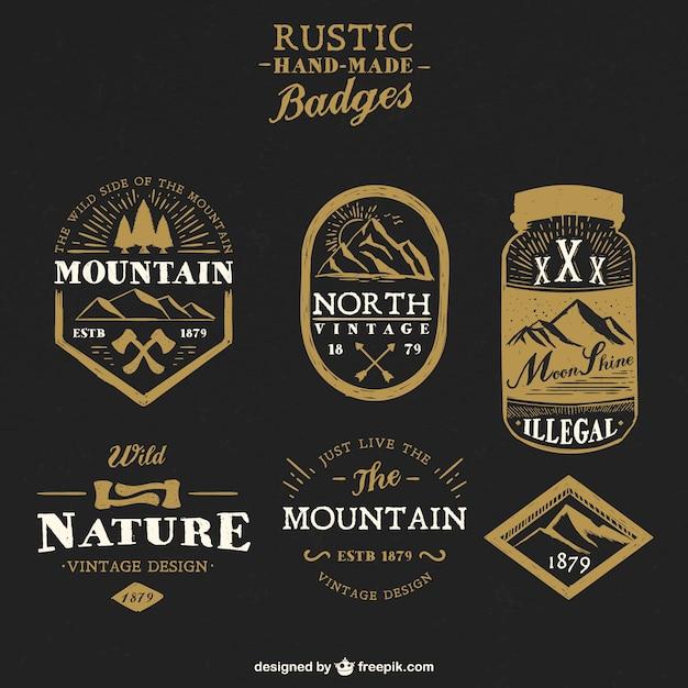 Rustic handmade badges Vector | Free Download