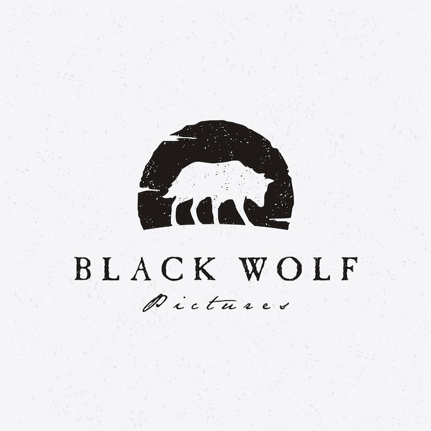 Rustic hipster silhouette wolf for movie production logo Premium Vector