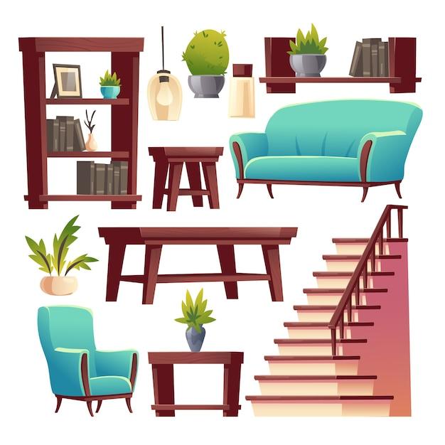 Set roba interna corridoio casa rustica Vettore gratuito