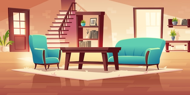 Rustic house hallway interior with wooden stairs and furniture coffee table, shelf, bookcase, couch and armchair with potted plants Free Vector