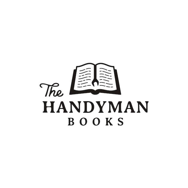 Rustic retro logo design for handyman and book Vector