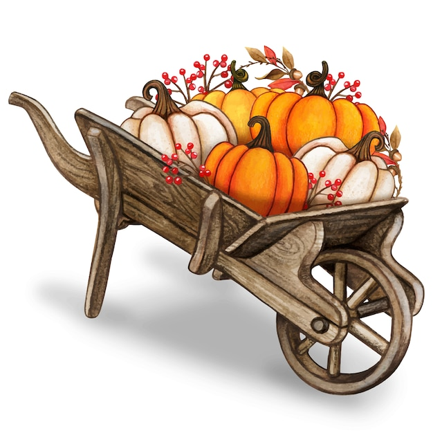 Rustic watercolor vintage wheelbarrow with colorful pumpkins and autumn leaves Premium Vector