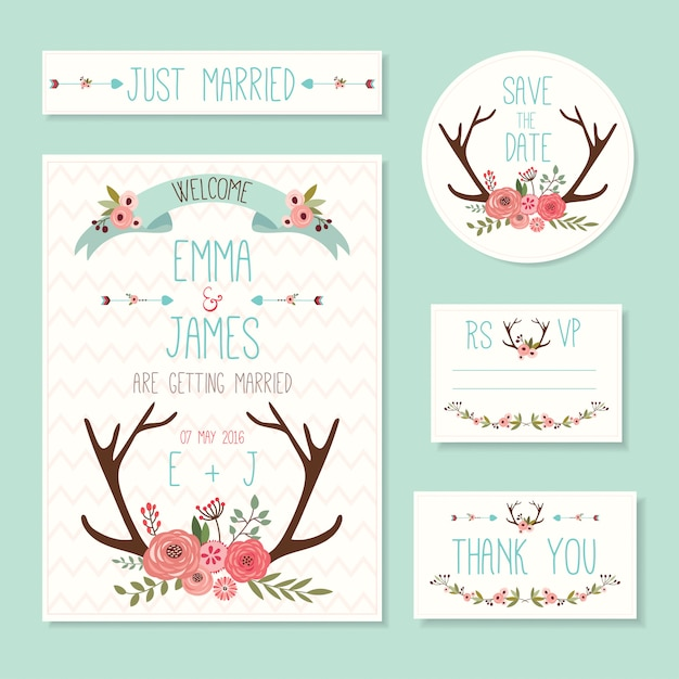 Rustic wedding cards and invitations set with floral elements and deer horns Premium Vector