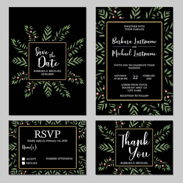 Rustic Wedding Invitation Template Set With Greenery Vector