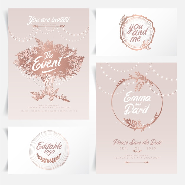 Rustic wedding invitation with string lights Premium Vector