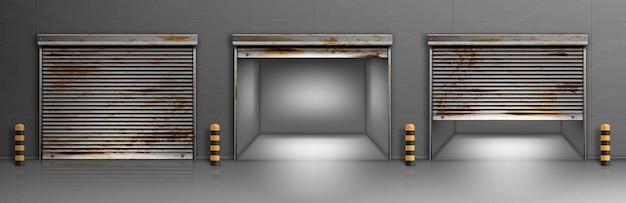 さびたガレージのドア、倉庫、格納庫の入り口 無料ベクター