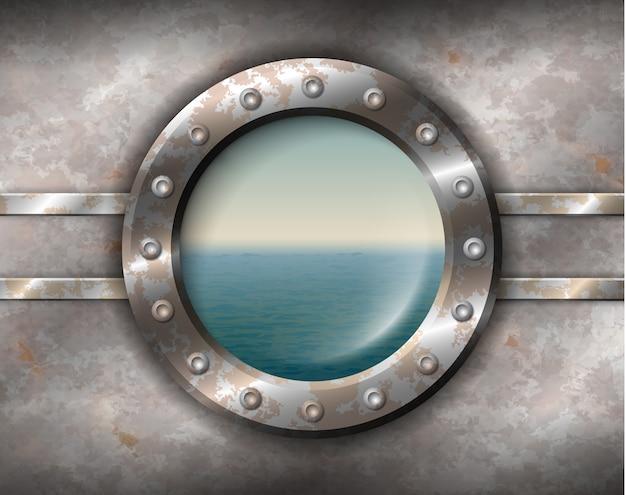 Ржавый иллюминатор с морской пейзаж Premium векторы