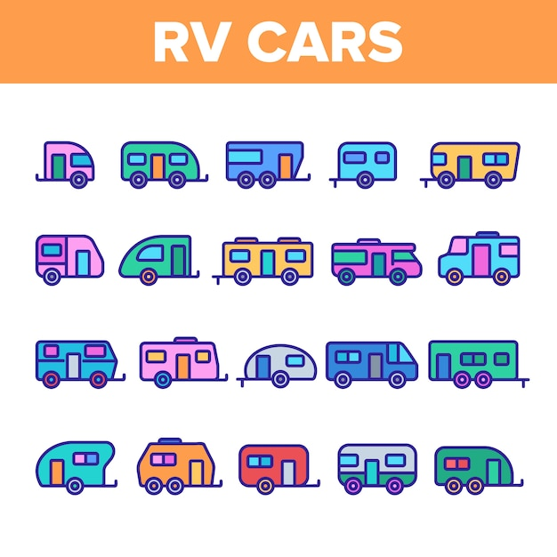 Rv camper cars vehicle icons set Premium Vector