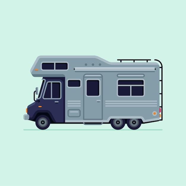 RV Camper Trailer Truck Vector Illustration Premium