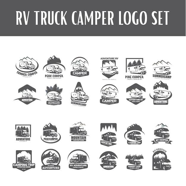 rv truck camper logo template set vector premium download