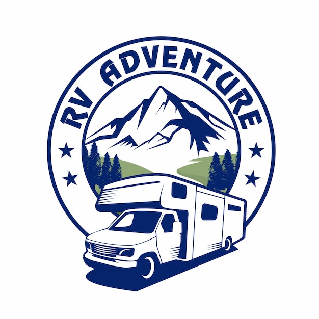 Rv van adventure, van vacation, праздничный логотип, логотип rv Premium векторы