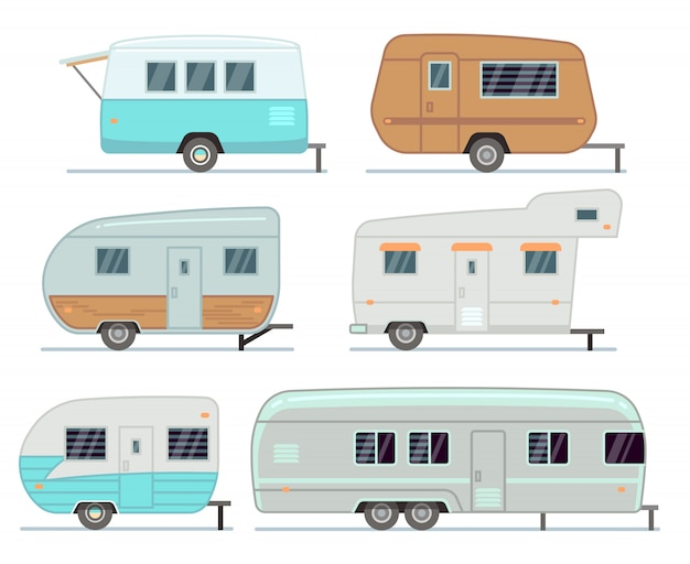 Rvキャンプトレーラー、旅行モバイルホーム、キャラバンベクトルセット分離 Premiumベクター