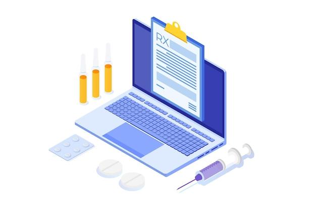 Форма рецепта rx на блокноте с буфером обмена на ноутбуке. концепция онлайн-клиники. Premium векторы