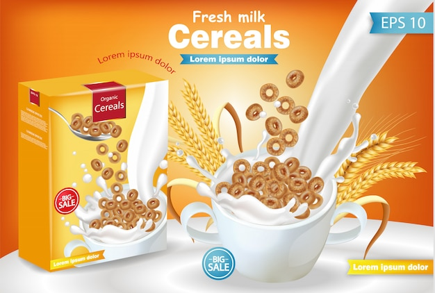 Rye cereals in milk splash realistic mockup Premium Vector