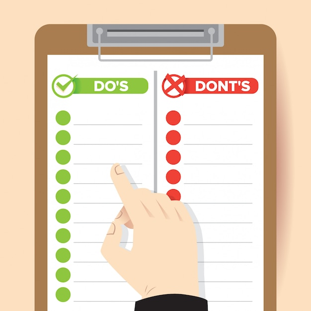 Do's and dont's illustration Premium Vector
