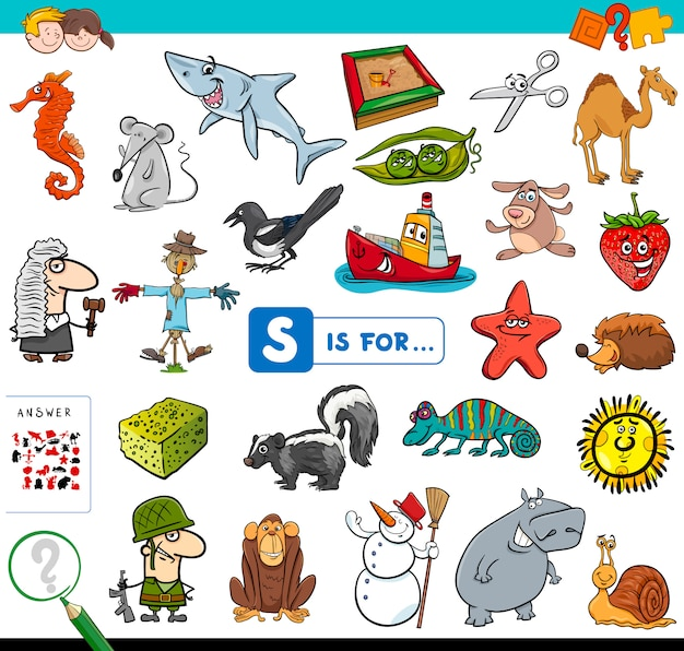 S is for educational game for children Premium Vector