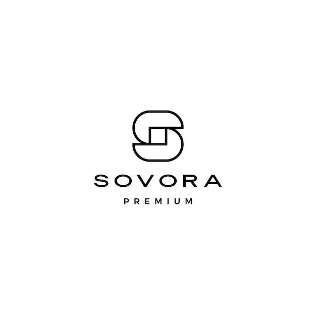 S文字初期ロゴアイコンイラスト重複スタイル Premiumベクター