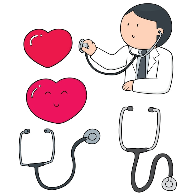 S set of doctor, stethoscope and heart Premium Vector