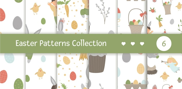 S set of seamless patterns with design elements for easter. repeat backgrounds with cute bunny, children, colored eggs, chirping bird, chicks, baskets. spring funny digital paper pack. Premium Vector