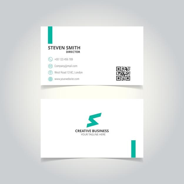 S文字のロゴ最小企業名刺、白と緑の色 無料ベクター