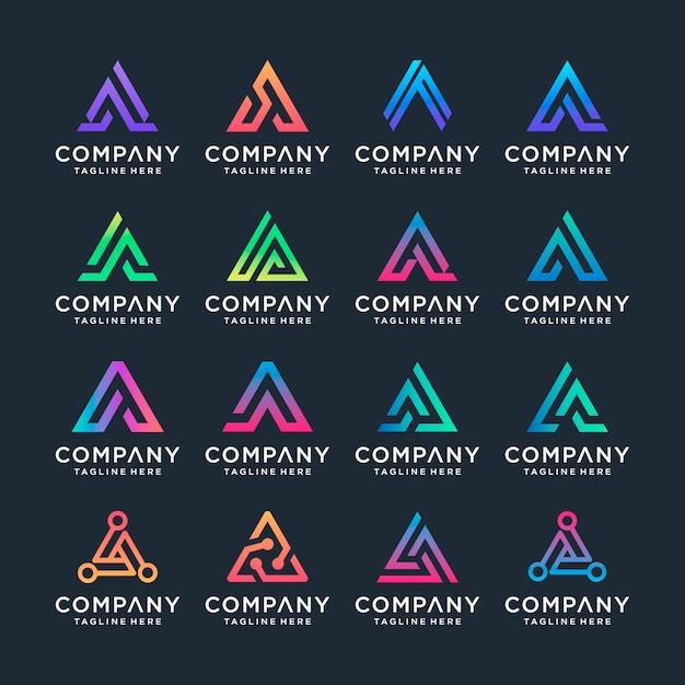Набор творческого письма шаблон дизайна логотипа. s для бизнеса роскоши, элегантности, простоты. Premium векторы