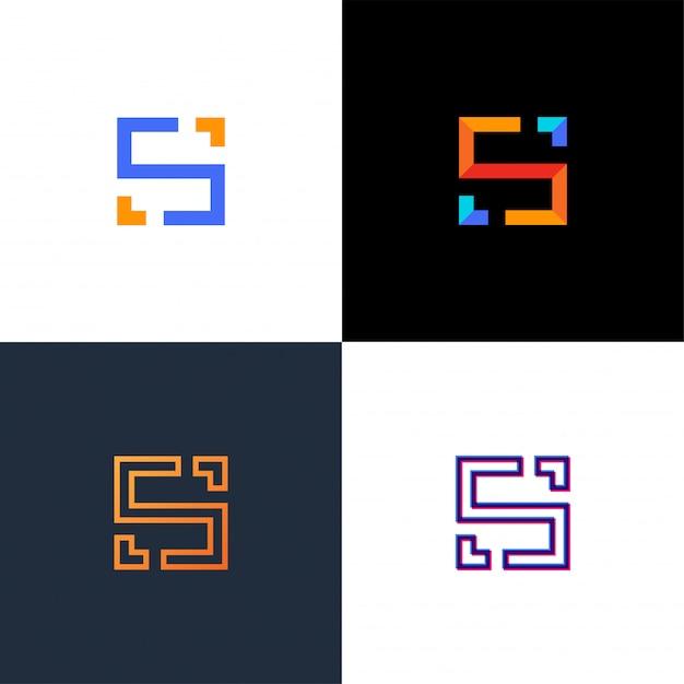 珍しい幾何学的な手紙s.建築ロゴ。孤立したモノグラム。 Premiumベクター